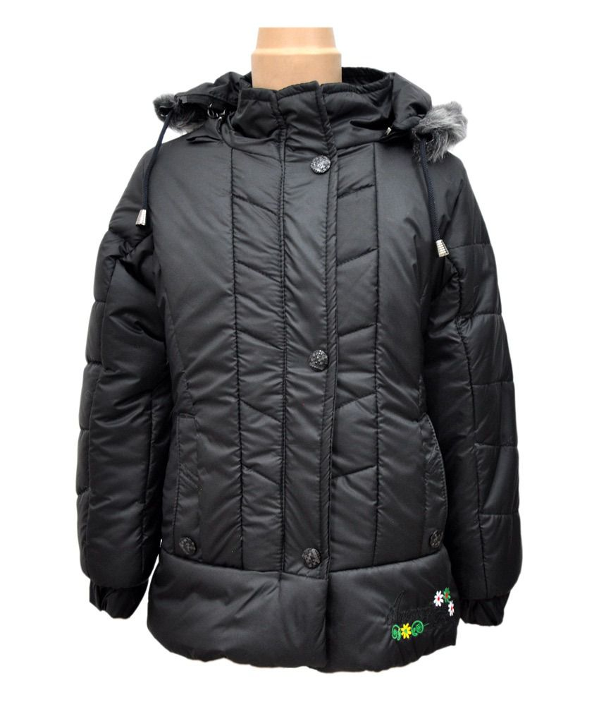 Come In Kids Black Full Sleeves Padded Jackets With Hood