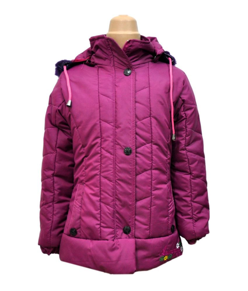 Come In Kids Maroon Full Sleeves Padded Jackets With Hood