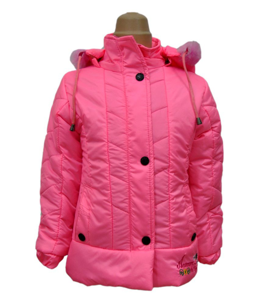 Come In Kids Pink Full Sleeves Padded Jackets With Hood
