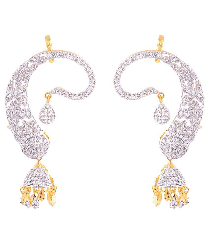 ede57907ee0f9 Ashiana American Diamond Peacock Ear Cuffs With Jhumka - Buy Ashiana ...