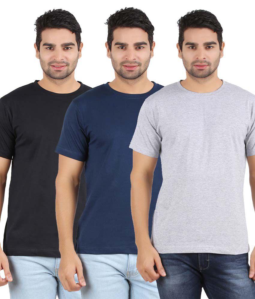 Heartin Beat Men's Solid T-Shirt Pack of 3 (Grey & Navy Blue & Black)