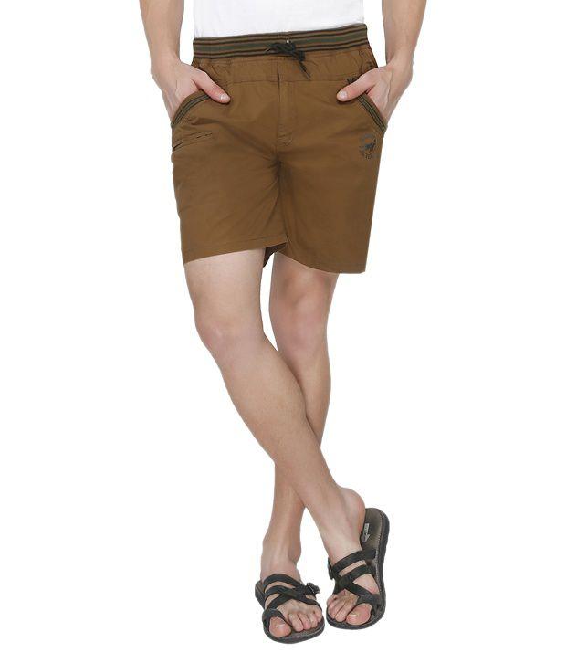 Jazzup Brown Cotton Blend Printed Shorts
