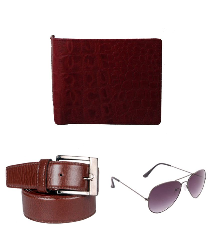 Lenin Brown Leather Belt with Wallet and Sunglasses - Pack of 3