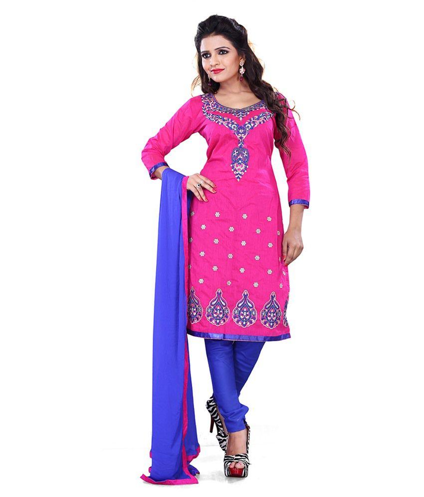 Surat Tex Pink Chanderi Unstitched Dress Material