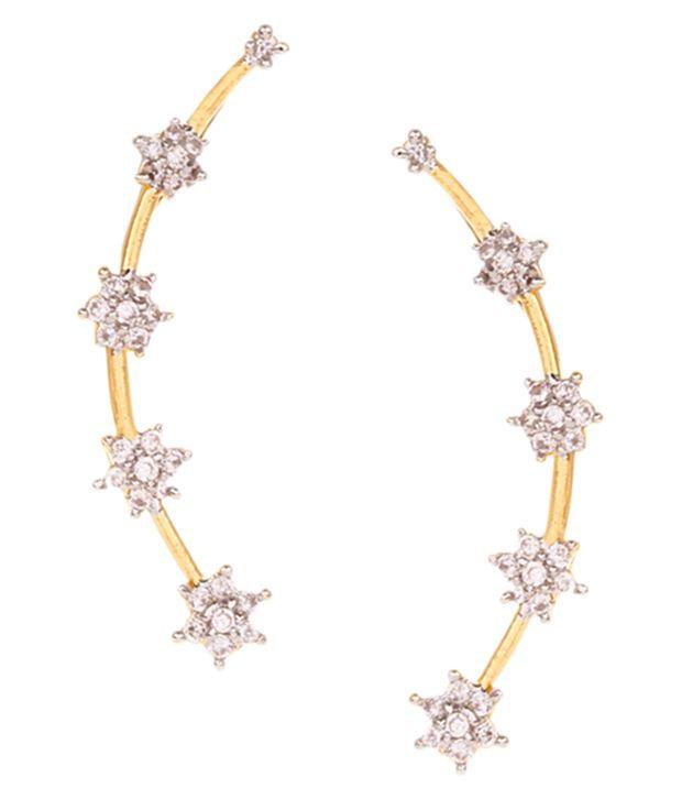 FZ Gold Plated American Diamond Designer Ear Cuffs