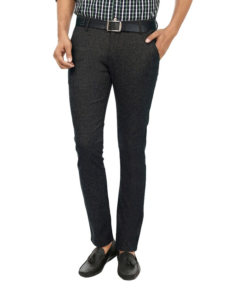 Fever Black Slim Fit Casual Flat Trousers