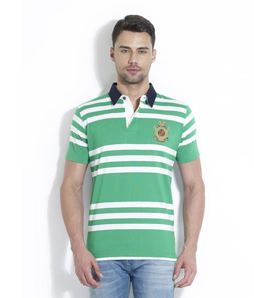 Lyf Green And White Half Sleeves Striper Wear Polo T-shirt