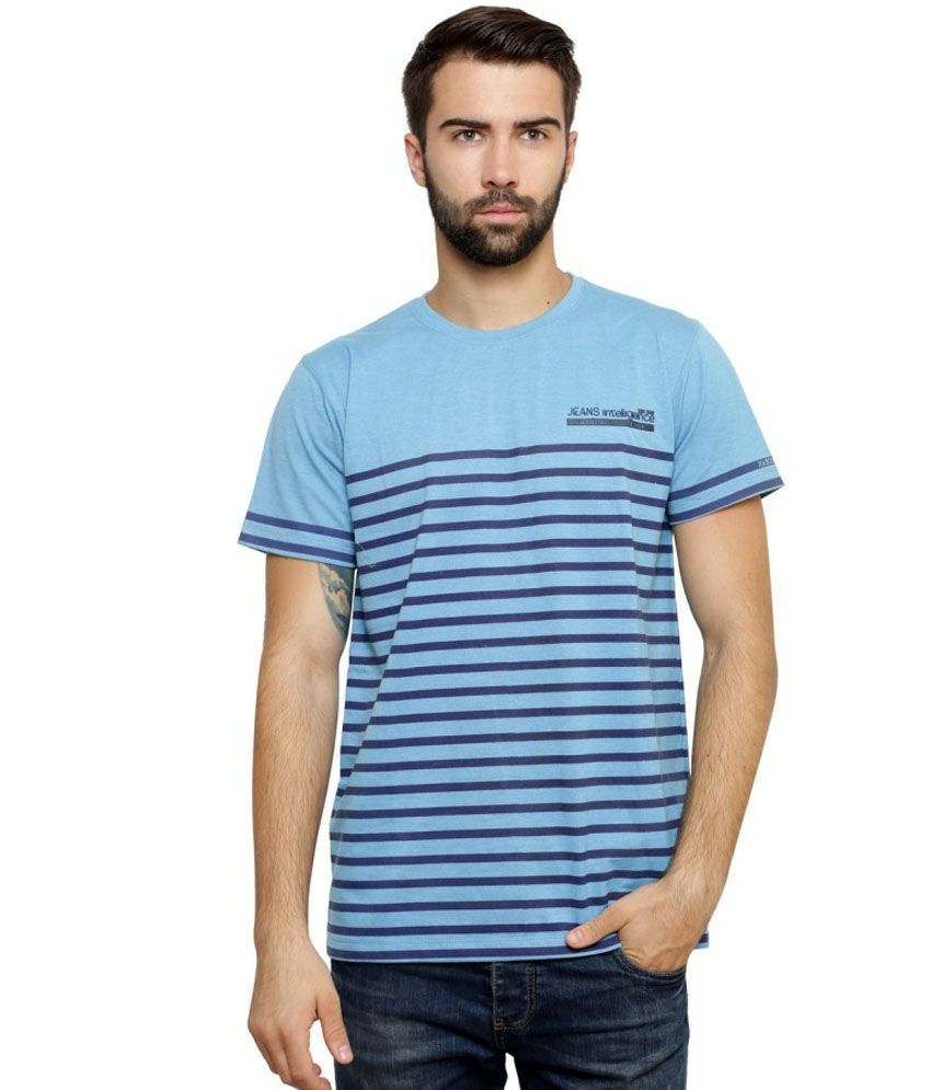 Zeco Blue Cotton T-Shirt