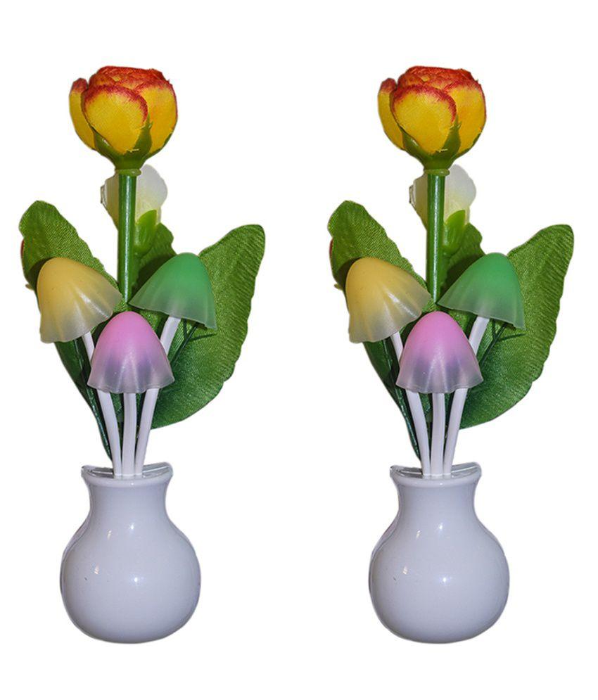 AVE Multicolor Round Shape Flower Night Lamp - Set of 2 Pcs