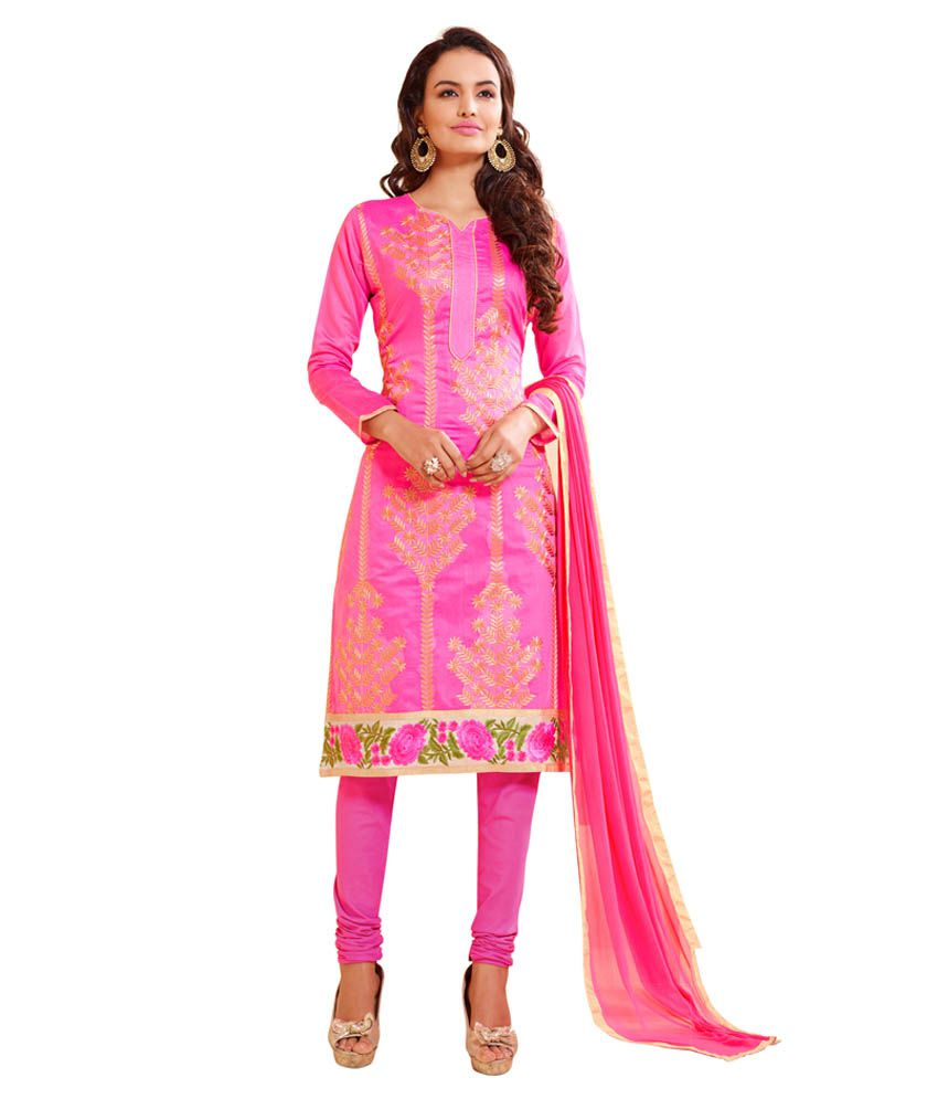 0c129a07277 Blissta Pink Chanderi Dress Material available at SnapDeal for Rs.947