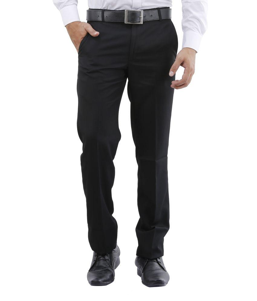 Lamode Black Regular Fit Formals Trousers