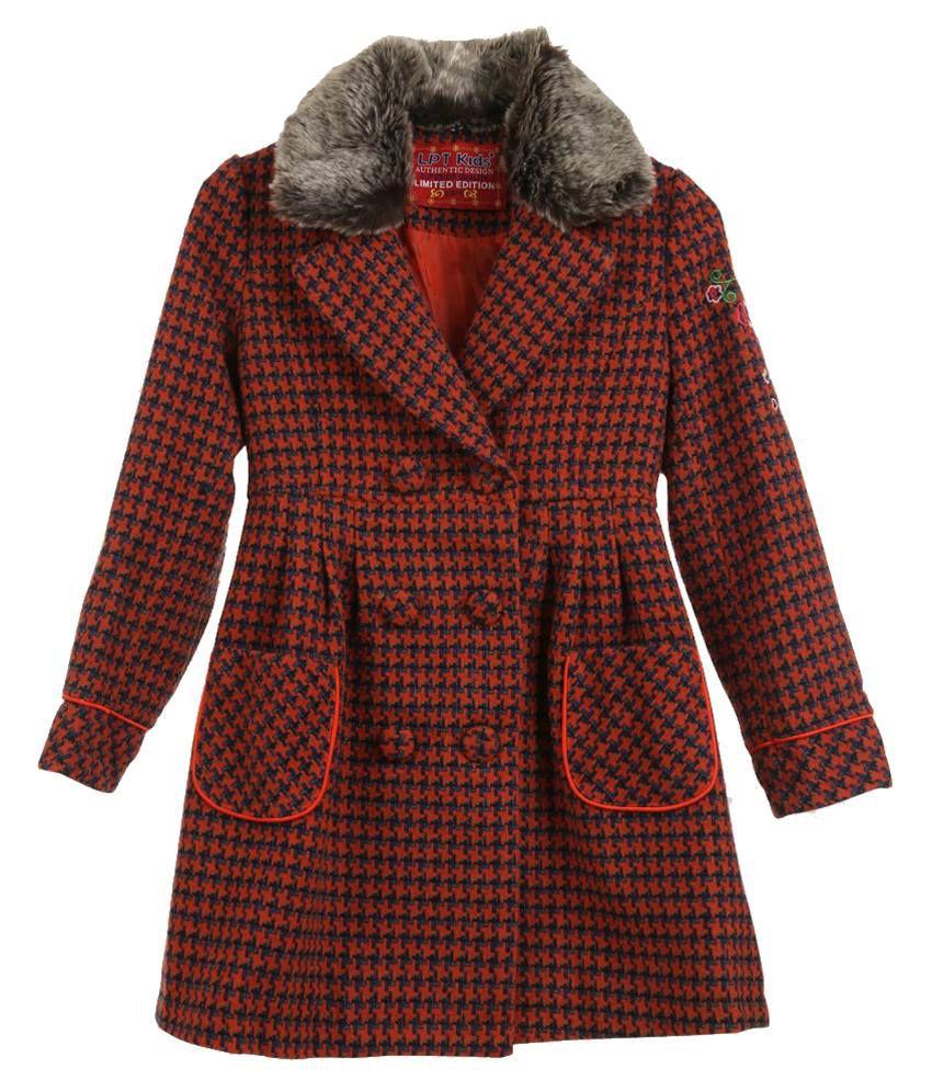 Lilliput Orange Houndstooth Checks Woollen Coat