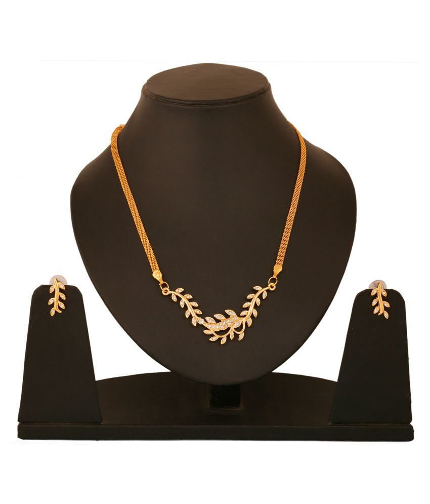 Touchstone Gold Plated Austrian Diamond Designer Necklace Set