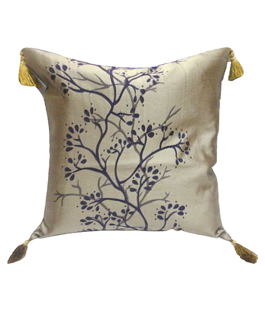 Kinkob Kreations Purple Polyester Floral Embossed Trees Cushion Cover