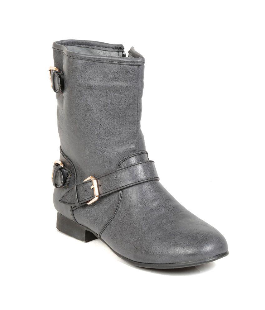 Ten Gray Block Boots