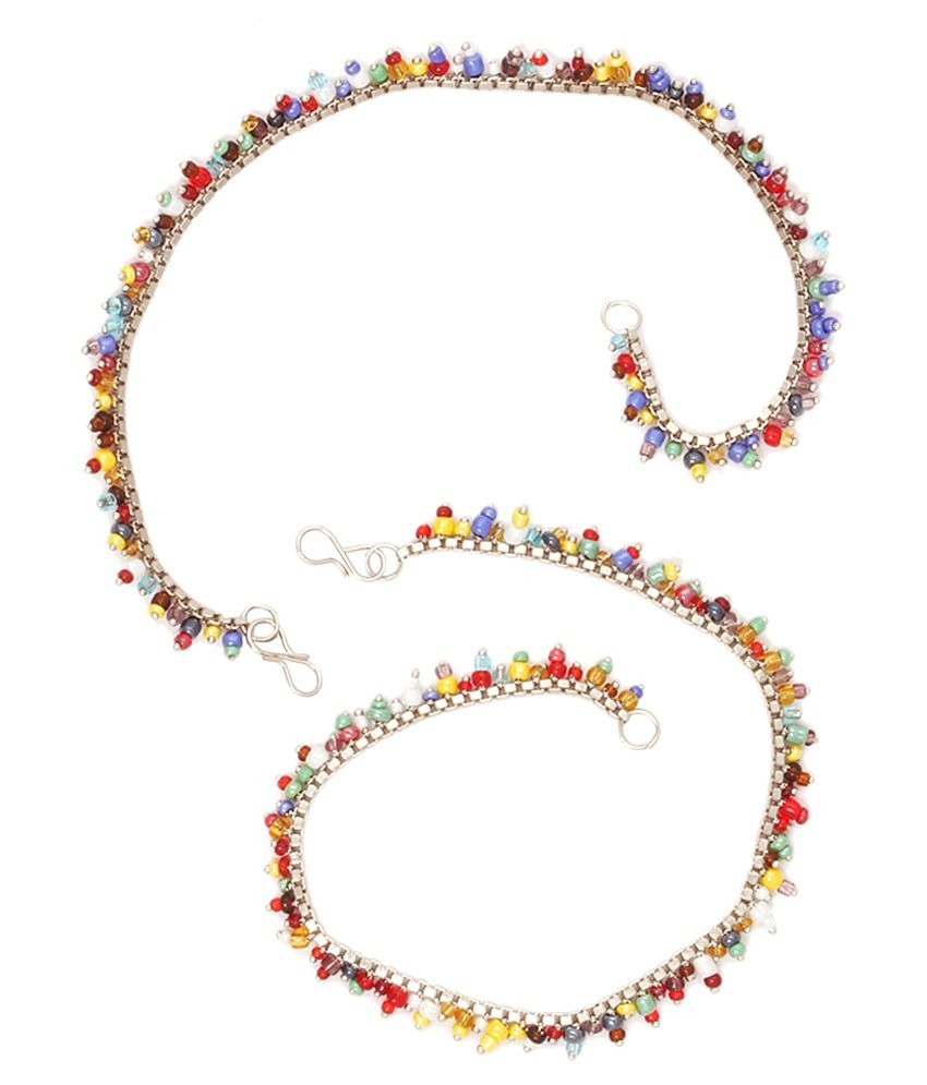 Vanity Roots Silver Others Pair Of Anklets