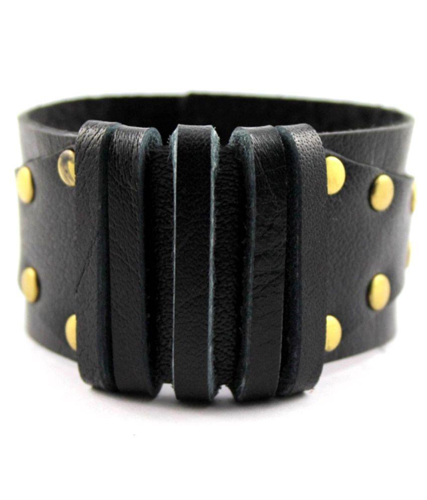 Wise Pebbles Black Faux Leather Bracelet
