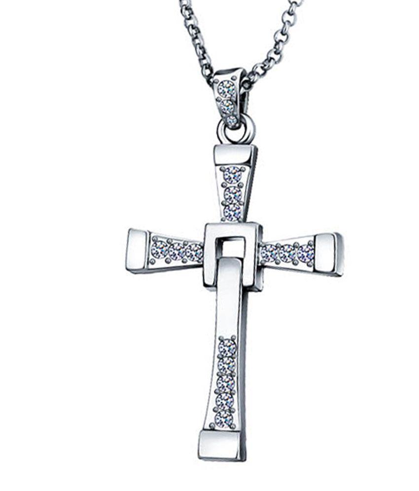 Vin Diesel Cross Necklace: Yellow Chimes Silver Vin Diesel Cross Pendant (Gift For