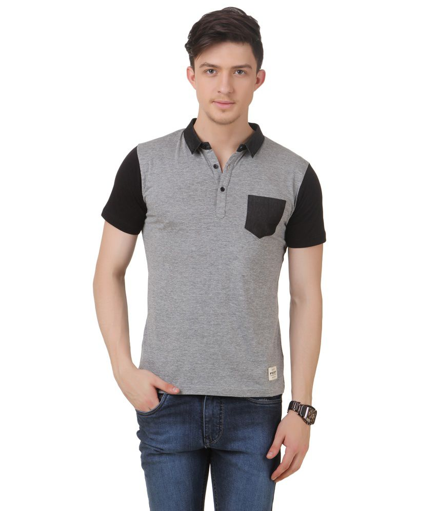 Frost Grey Cotton Blended Polo T-shirt