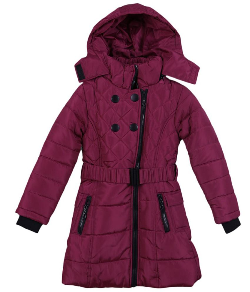 Lilliput Pink Polyster Viscose Full Sleeve Jacket With Hood