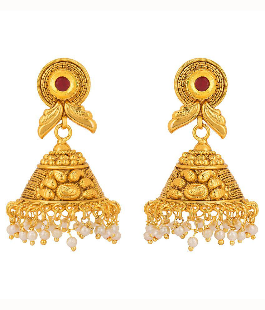 Rajwada Arts Gold Plated and Ethnic Jhumki Earrings with Red Stone
