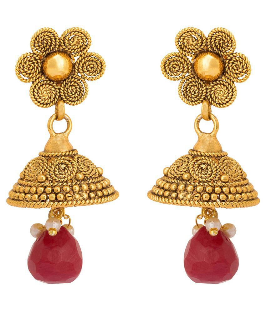 Rajwada Arts Traditional Style Red Color Earringss