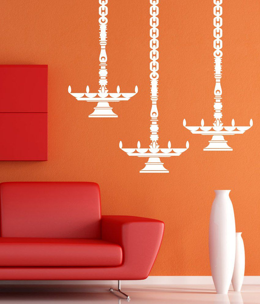 Wall1ders Hanging Diya White Wall Sticker Buy Wall1ders Hanging