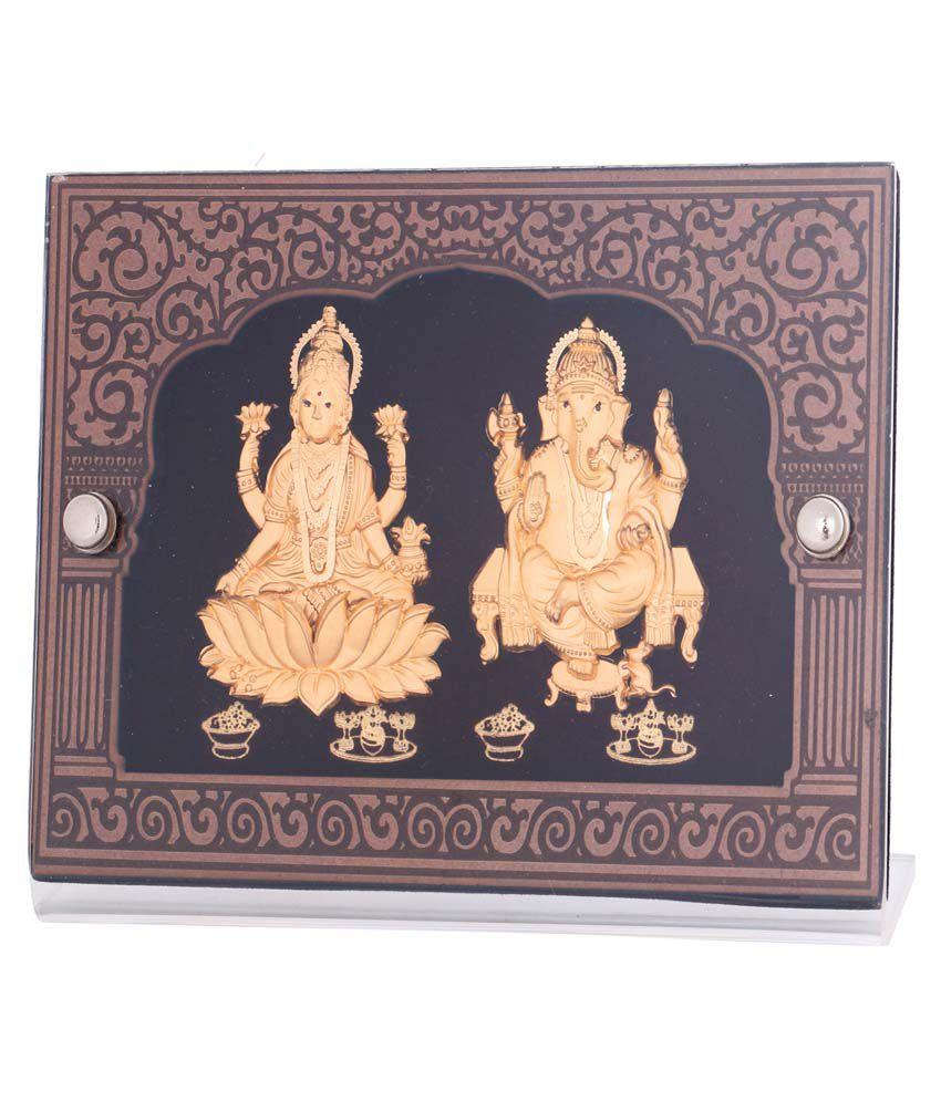 Diwali Gifts LMGF19 24 Kt Pure Gold Leaf Laxmi Ganesha in Frame: Buy ...