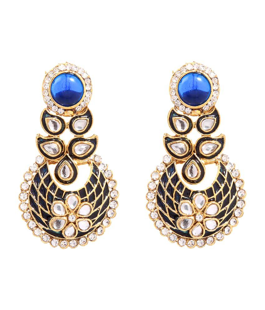 Goldnera Blue & Black Alloy Hanging Earrings