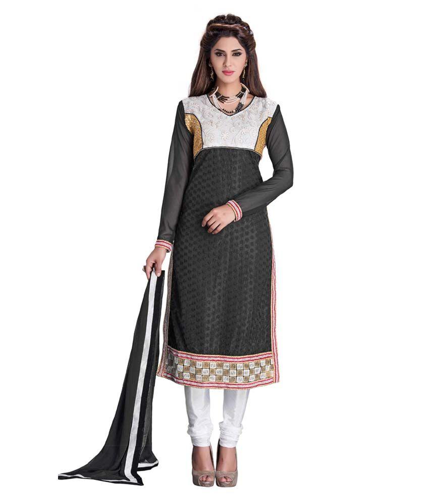 Shaili Black Net Straight Unstitched Dress Material