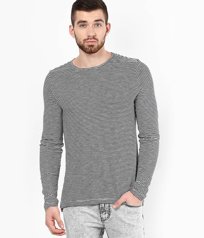 Black t shirt low price - Jack Jones Black White Striped Round Neck T Shirt