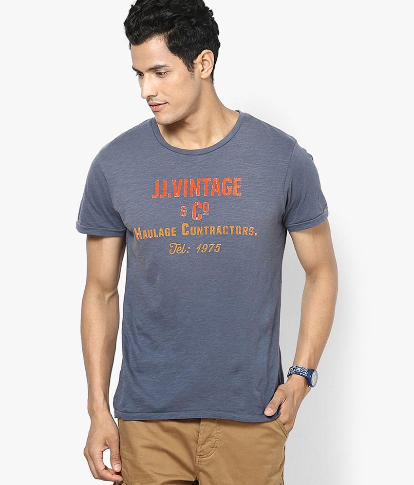 Jack & Jones Blue Printed Round Neck T-Shirt