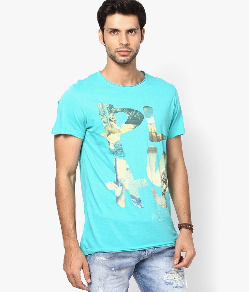 Jack & Jones Turquoise Printed Round Neck T-Shirt