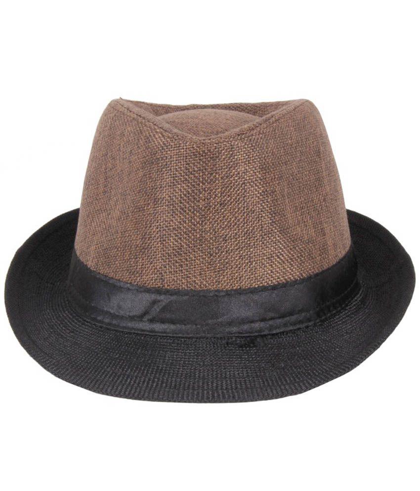 Jstarmart Brown Polyester Fidora Hat For Men