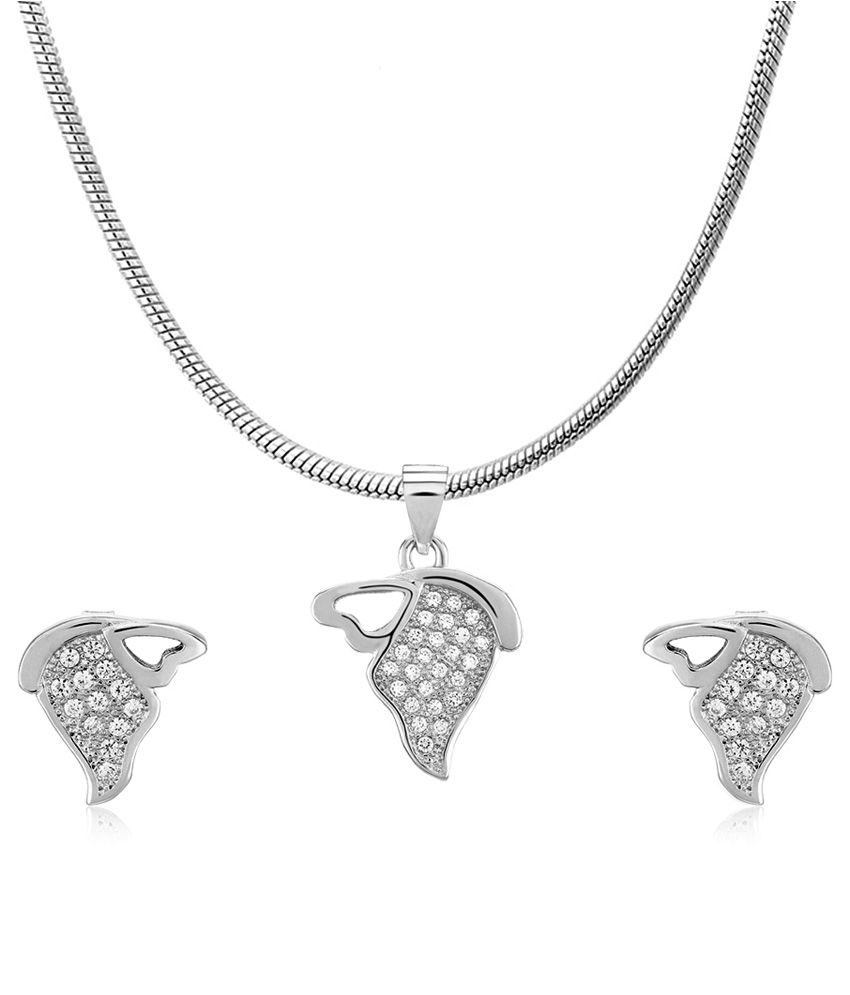 Om Jewells 92.5 Sterling Silver Cubic Zirconia Pendant Necklace Set