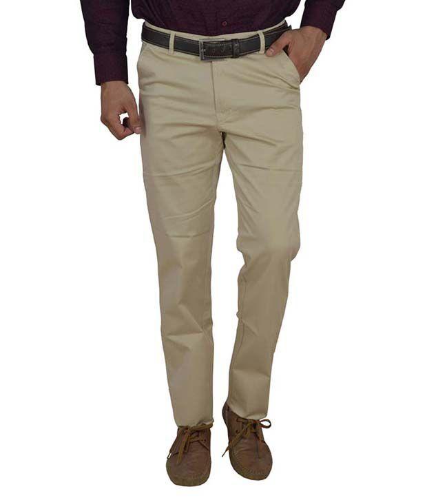 Studio Nexx Men's Slim Fit Beige Trouser