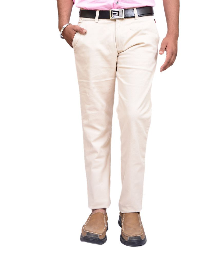 British Terminal White Slim Fit Casual Chinos