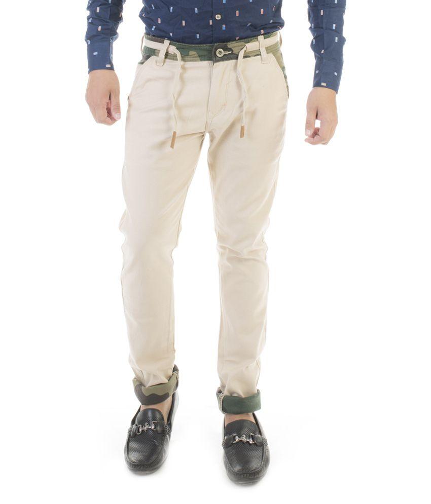 Jeanster Off-White Slim Fit Casual Chinos