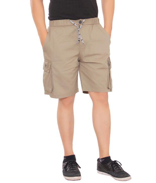 Mauntioncolours Brown Cotton Blend Solids Shorts