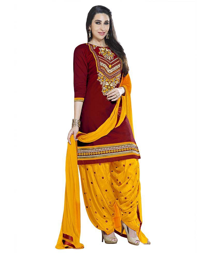 Patiala House Maroon Cotton Dress Material Buy Patiala