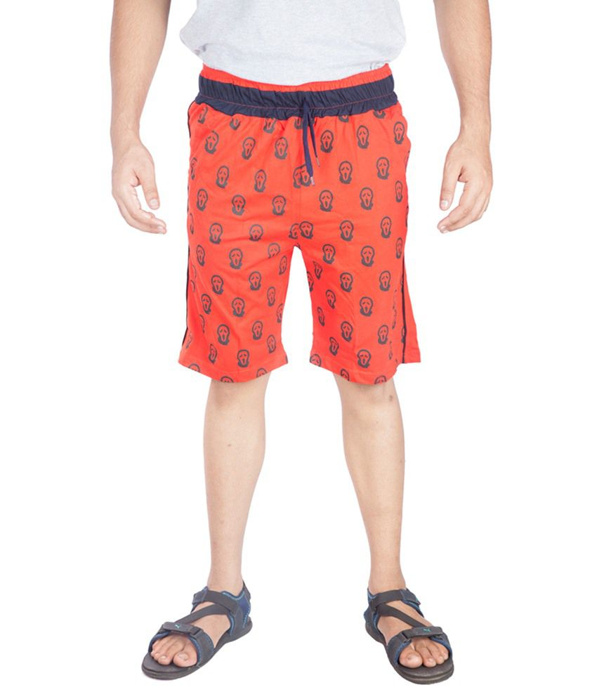 A Flash Red Cotton Blend Printed Short