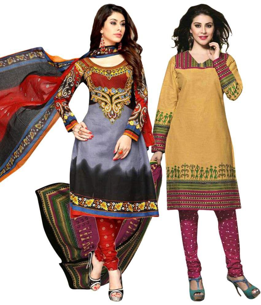Drapes Multicolouredcolour Pack of 2 Cotton Unstitched Dress Materials with Dupattas
