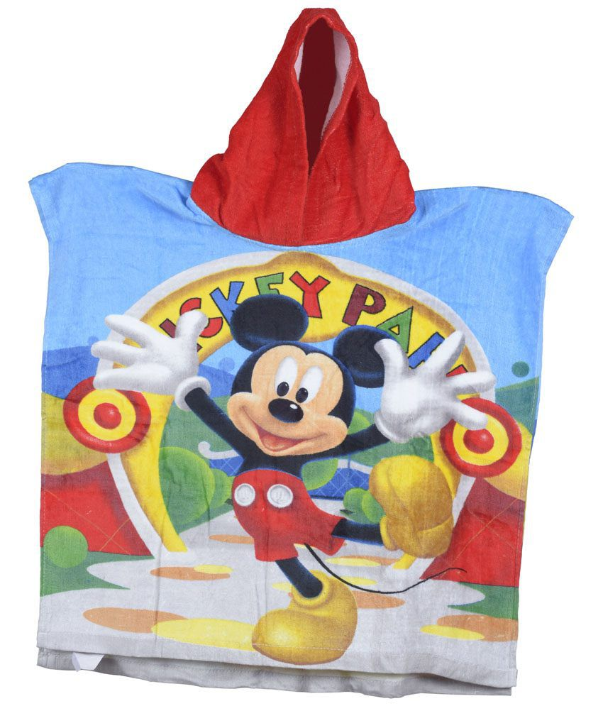 Disney Blue & Red Printed Bath Towel for Kids