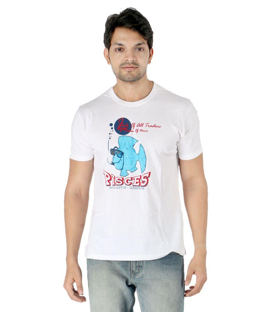 Engima White Cotton Round Neck T-Shirt