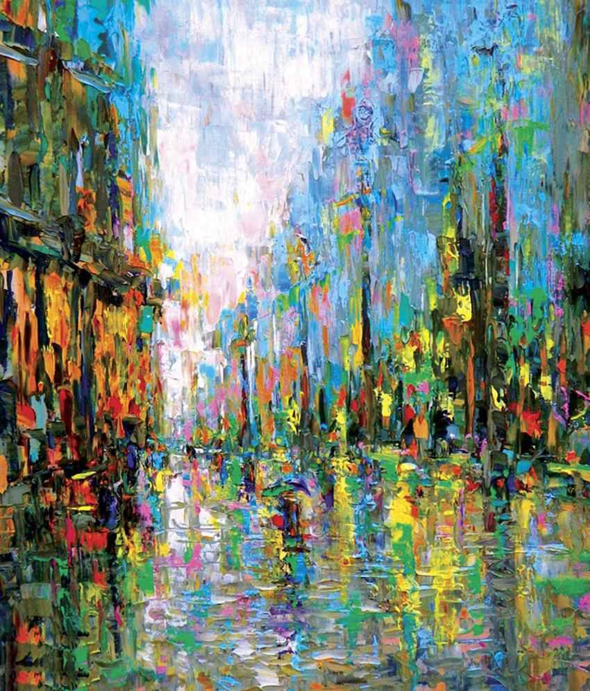 Faim Multicolour Street View Canvas Print Painting