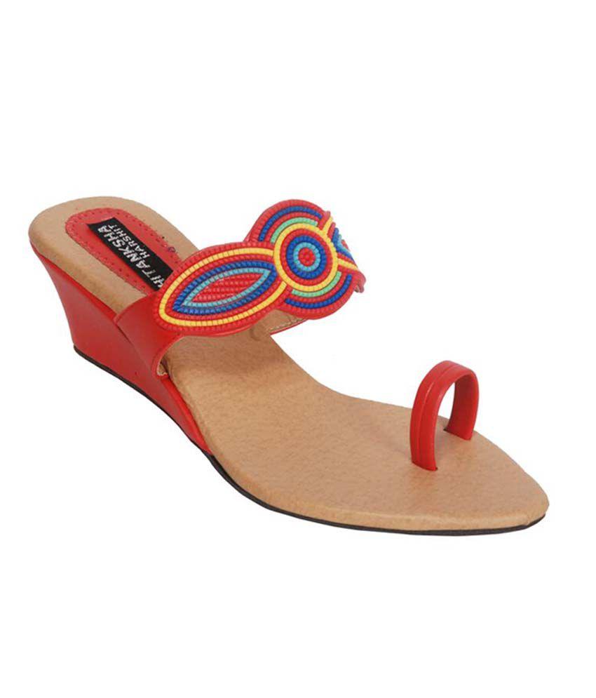 Hitanksha Harshit Red Wedges Heels