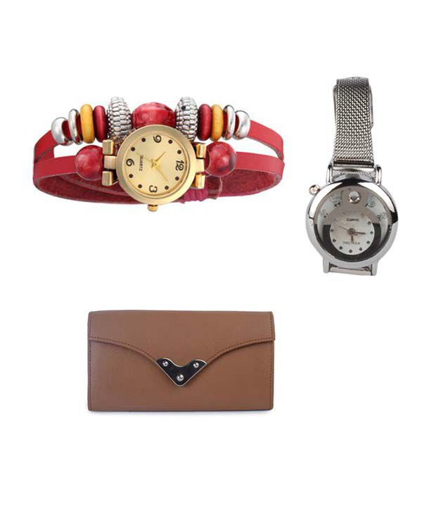 Klaska Combo of Women's Leather Wallet & 2 Wrist Watch