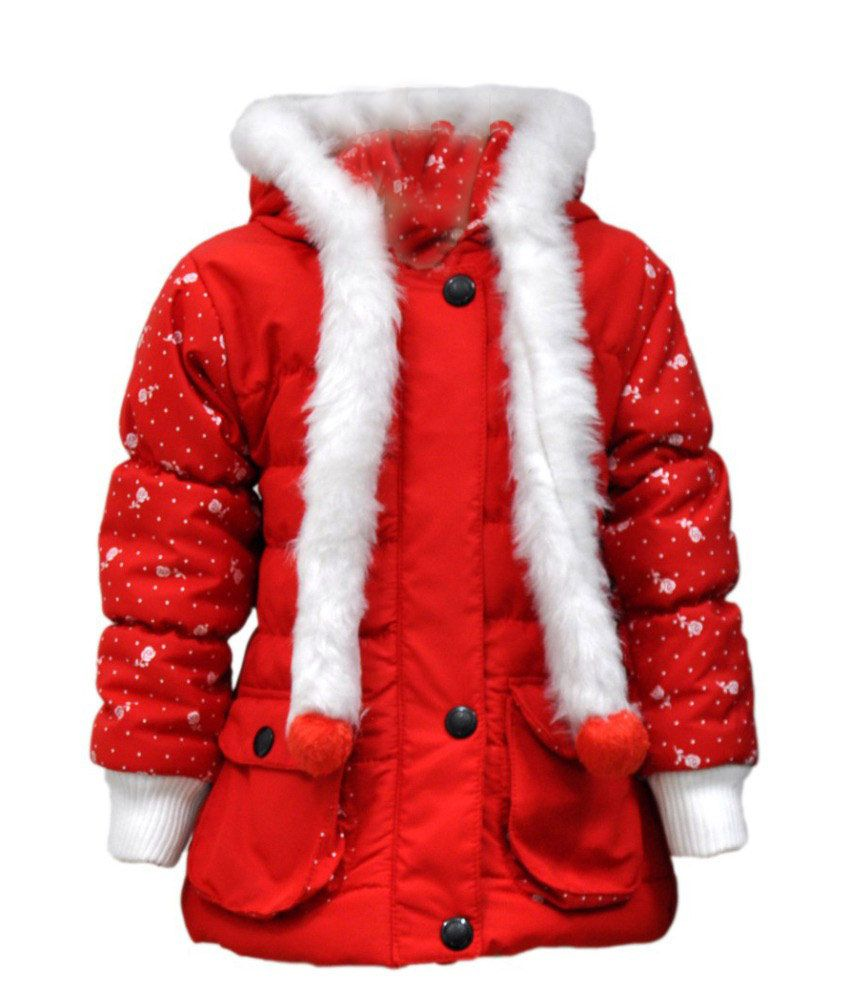 Come In Kids Red Acrylic Full Sleeves Padded Jacket