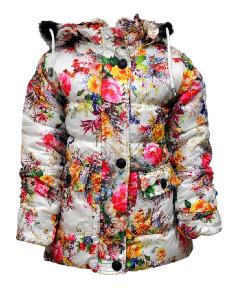 Come In Kids White Acrylic Full Sleeves Padded Jacket