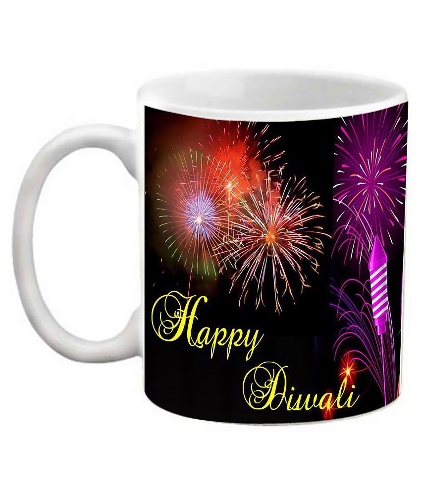 Efw Happy Diwali Printed Ceramic Coffee Mug (325 Ml)